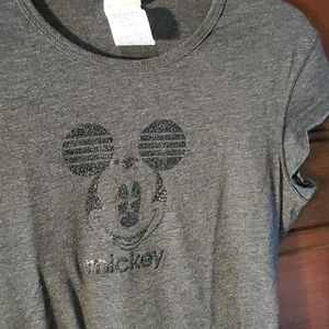 Disney black glitter Mickey t-shirt XL gray